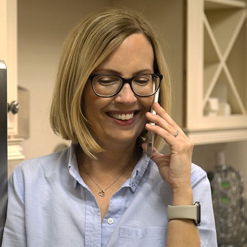 happy customer talking to our home warranty rep